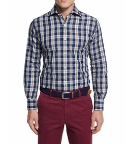 Teton Plaid Long-Sleeve Sport Shirt by Peter Millar in New Girl