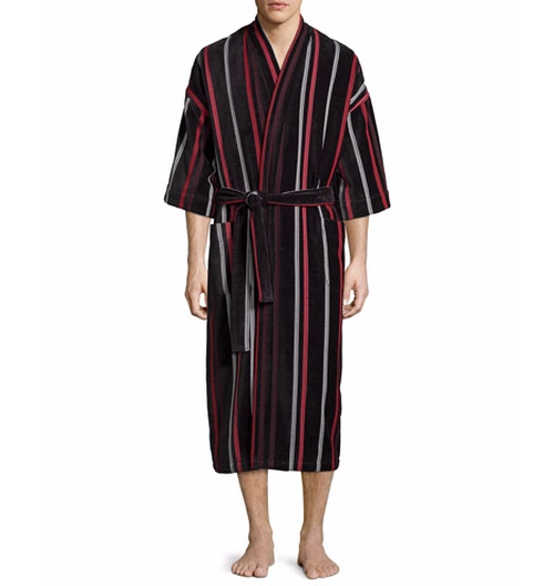 Velour Striped Kimono Robe by Neiman Marcus in The Good Wife - Season 7 Episode 16