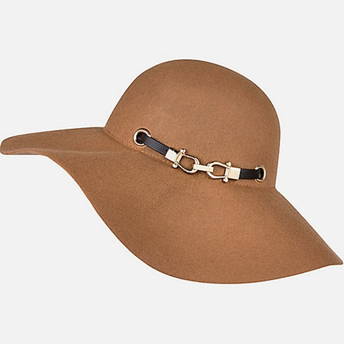 Beige Black Trim Floppy Hat by River Island in The Walk