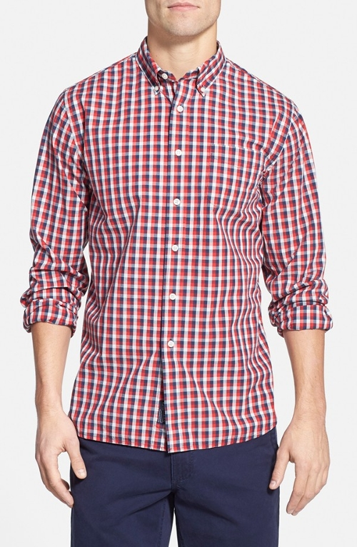 'Clifton' Trim Fit Check Poplin Sport Shirt by Grayers in Dope