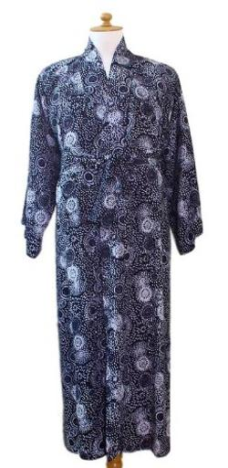 Men's Rayon Batik Robe, 'Midnight Blue' by Novica in Dumb and Dumber To