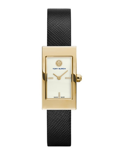 Buddy Signature Leather-Strap Golden Watch by Tory Burch Watches in Our Brand Is Crisis