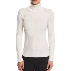 Ribbed Silk-Blend Turtleneck Sweater by Magaschoni in The Boss