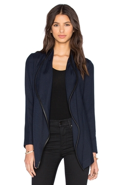 Leather Trim Drape Neck Jacket by Vince in Animal Kingdom