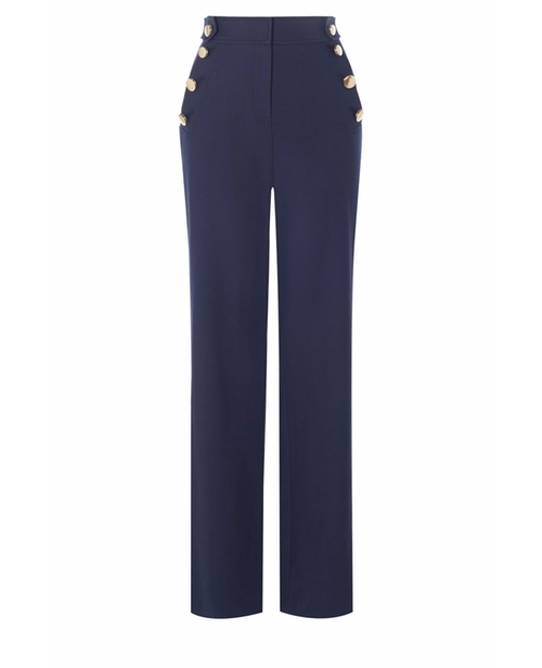 Button-Detail Wide-Leg Trousers by Karen Millen in Mistresses