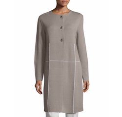 Two-Tone Matte-Crepe Cardigan Coat by Lafayette 148 New York in Quantico