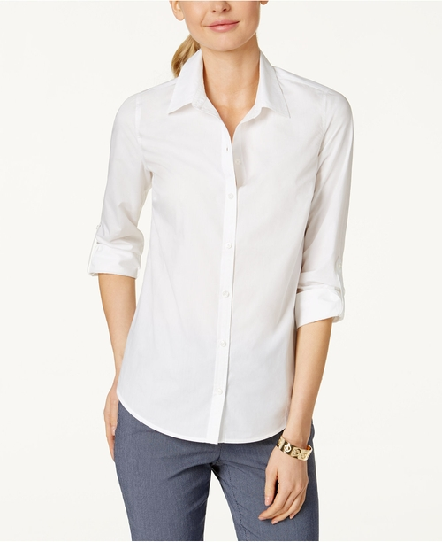Petite Roll-Tab Button Down Shirt by Charter Club in The Intern
