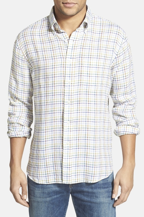 Plaid Linen Sport Shirt by New England Shirt Co. in Modern Family - Season 7 Episode 7