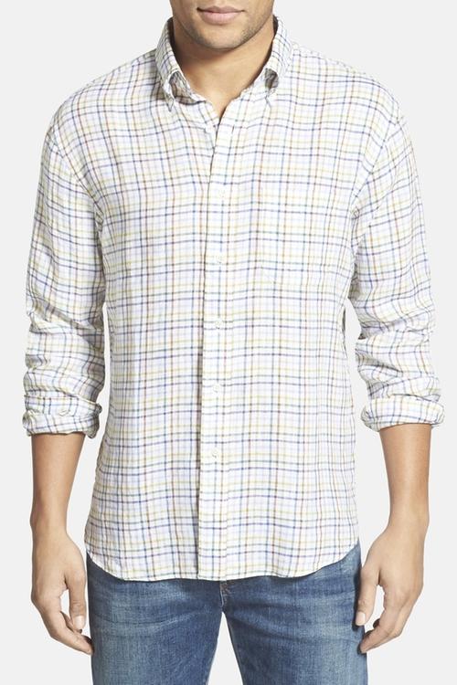 Plaid Linen Sport Shirt by New England Shirt Co. in Modern Family - Season 7 Episode 7
