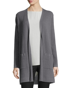 Washable Wool Ribbed Long Cardigan by Eileen Fisher in Keeping Up With The Kardashians