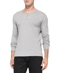Jersey Long-Sleeve Henley Shirt by Vince in Let's Be Cops