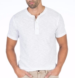 Heather Short-Sleeve Henley Tee by Faherty in Baywatch