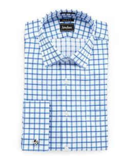 Trim-Fit Windowpane Check Dress Shirt by Neiman Marcus in And So It Goes
