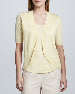Linen Open-Front Cocoon Cardigan by Neiman Marcus in The Big Bang Theory
