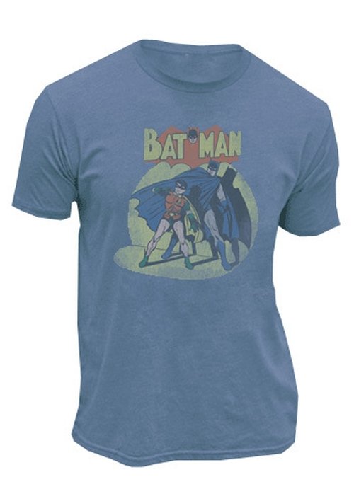 Batman & Robin In The Spotlight Slate Blue Mens T-Shirt by TV Store Online in The Big Bang Theory - Season 9 Episode 7