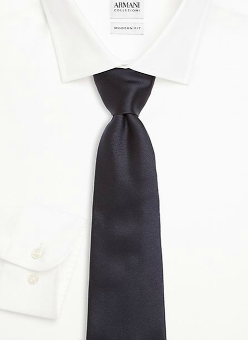 Solid Silk Tie by Armani Collezioni in Black Mass