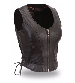 Women's Short Zipper Motorcycle Vest by Ultimate Leather Apparel in The Walking Dead