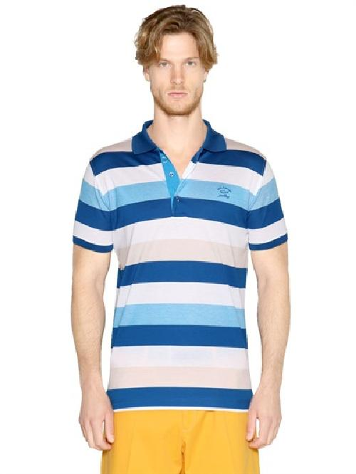 STRIPED COTTON PIQUÉ SHARK FIT POLO by PAUL & SHARK in The Wolf of Wall Street