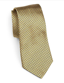 Geometric Print Silk Tie by Armani Collezioni in Savages