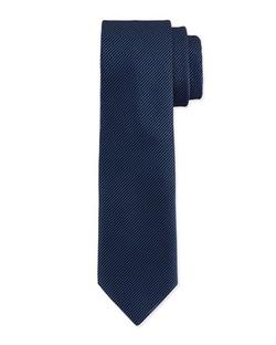 Textured Hairline-Stripe Silk Tie by Charvet in Legend