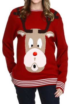 Digital Dudz Red-Nosed Reindeer Christmas Sweater by Halloween Costumes in Krampus