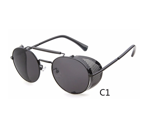 Metal Frame Side Shield Oval Sunglasses by Flowertree in Eddie The Eagle