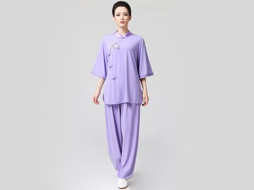 Tai Chi Clothing Half-sleeve Suit for Women Violet by ICN Buys in Couple's Retreat