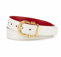 Reversible Leather Gancio-Buckle Belt by Salvatore Ferragamo in American Made