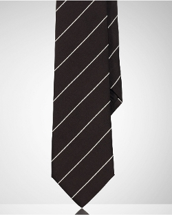 Narrow Barathea Stripe Tie by Ralph Lauren in Trainwreck