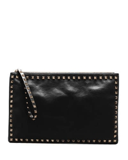 Rockstud Leather Clutch Bag by Valentino in Ballers