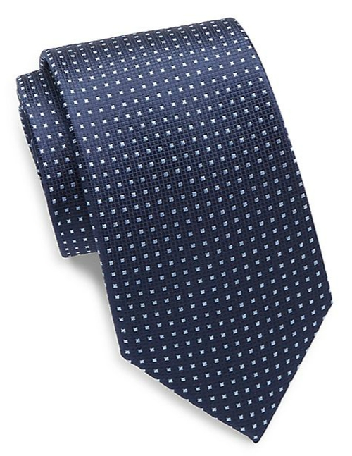 Square Grid Silk Tie by Yves Saint Laurent in House of Cards - Season 4 Episode 1