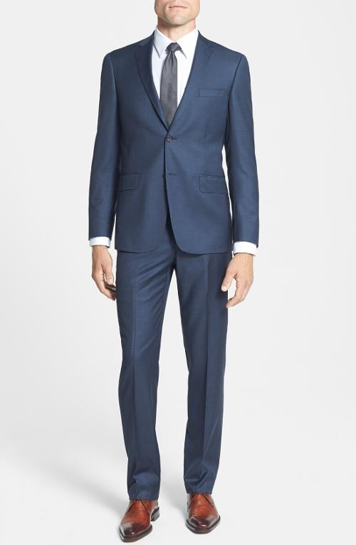 'Los Angeles' Trim Fit Blue Wool Suit by Hart Schaffner Marx in Laggies
