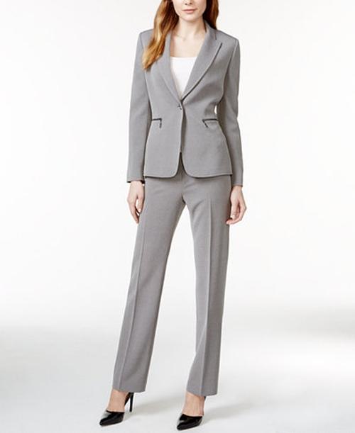 Zip-Pocket Textured Pantsuit by Tahari ASL in Bad Moms