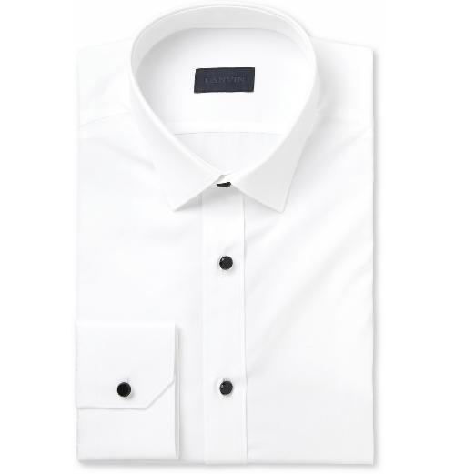 White Glass-Button Cotton Tuxedo Shirt by Lanvin in The Great Gatsby