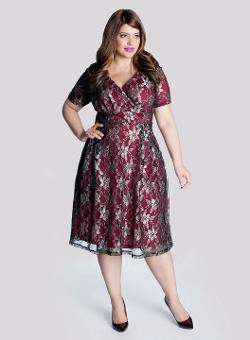 Marisol Plus Size Lace Dress in Pomegranate by Igigi in Get On Up