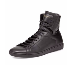 Men's Leather High-Top Sneakers by Saint Laurent in Empire