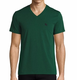 Lindon Jersey V-Neck T-Shirt by Burberry in New Girl