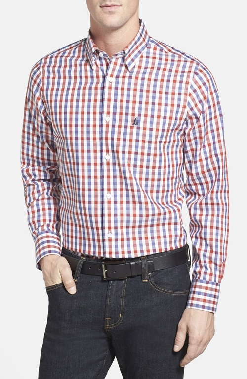 Smartcare Regular Fit Check Sport Shirt by Nordstrom in Entourage