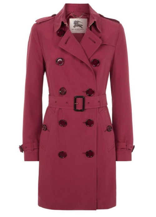 Cherry Pink The Kensington Mid-Length Silk Trench Coat by Burberry in Arrow - Season 4 Episode 15