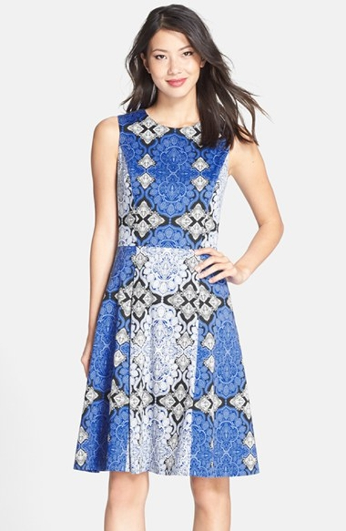 Print Cotton Sateen Fit & Flare Dress by Maggy London in The Longest Ride