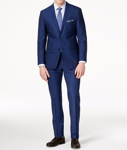 Blue Sharkskin Suit by Vince Camuto in Rosewood
