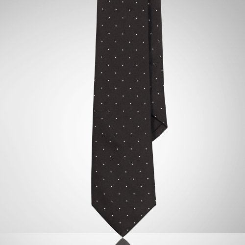 Polka-Dot Peau De Soie Tie by Ralph Lauren in Black or White