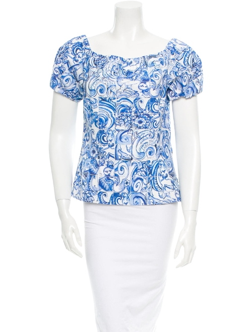 Floral Print Short Sleeve Top by Prada in The Visit