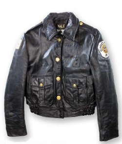 Chicago Police Leather Jacket by Kale Uniform Company in Couple's Retreat