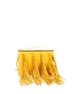 Fringe Zip Clutch Bag With Strap by Marni in Empire