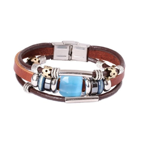 Simulated Blue Opal Stone Leather Bracelet by Fashion Plaza in Mad Max: Fury Road