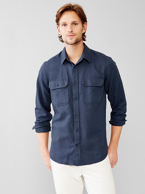 Linen-Cotton Two-Pocket Shirt by Gap in Vacation