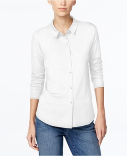 Long-Sleeve Button-Down Shirt by Eileen Fisher in Pretty Little Liars