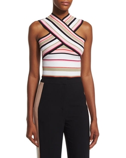 Striped Ribbed Cross-Front Top by MSGM in Mistresses