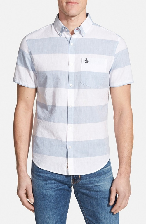 Trim Fit Stripe Sport Shirt by Original Penguin in Dope